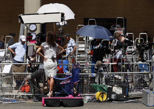 The media pen is seen opposite the Lindo Wing of St Mary's Hospital, where Britain's Catherine, Duchess of Cambridge is due to give birth, in London J...
