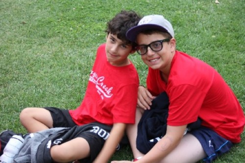 The author's son, Ben, at sleepaway camp with a friend.