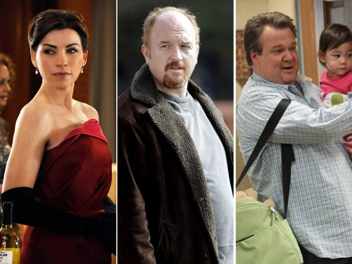 Image: Julianna Margulies, Louis C.K. and Eric Stonestreet.