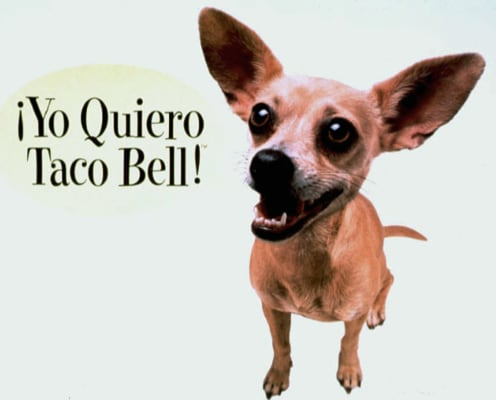 FILE - This undated picture provided by Taco Bell shows part of a Taco Bell advertisement featuring a Chihuahua professing his love for tacos. Handler...