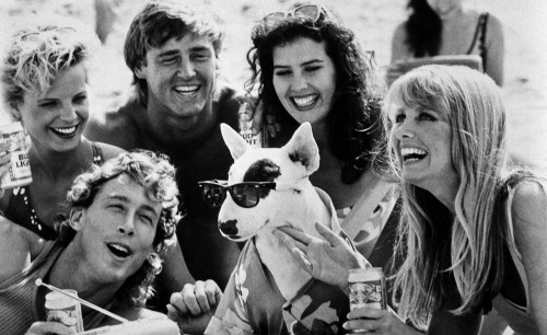 This is a 1987 photo of Spuds MacKenzie, center, in a Bud Light television commercial. (AP Photo)