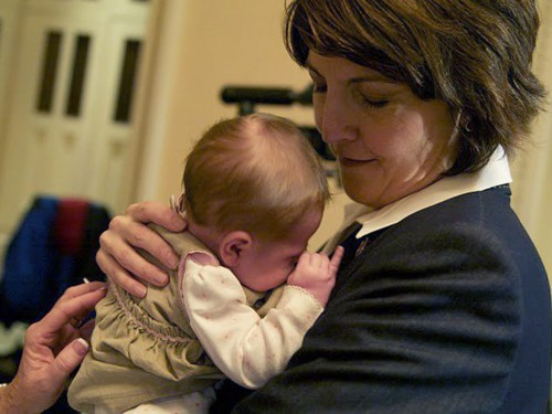 Image: Rep. Rodgers with her second child, daughter Grace.
