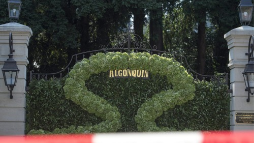 Tina Turner's Swiss Algonquin villa entrance, shielded for her wedding celebration.