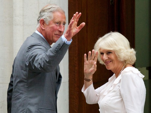 Prince Charles (L) and his wife Camilla, Duchess of Cornwall, arrive at the St Mary's Hospital in London, on July 23, 2013. Britain's Prince William a...