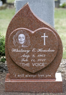 The new headstone at the grave of singer Whitney Houston.