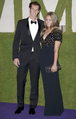 British tennis player and winner of Wimbledon 2013 Andy Murray and his partner Kim Sears arrive for the Wimbledon Champions Dinner 2013, in London, Su...