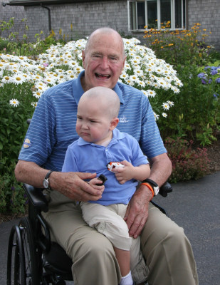 President George H.W. Bush and Patrick on July 24, 2013 after the former president shaved his head.