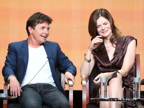 "Executive Producer/Actor Michael J. Fox and actress Betsy Brandt speak onstage during ""The Michael J. Fox Show"" pa..."