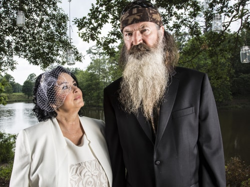 Miss Kay and Phil Robertson in A&E's 'Duck Dynasty' returning for season 4 August 14 at 10PM ET/PT.