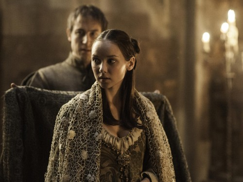 "Image: Edmure and Roslin on ""Game of Thrones"""