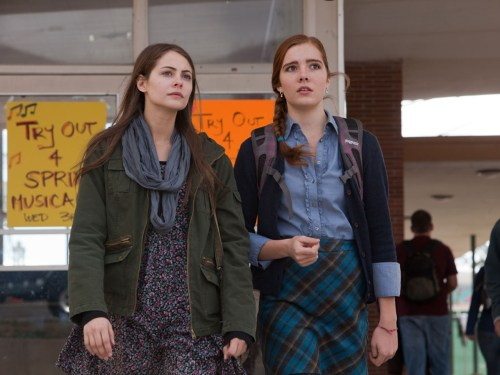 """Willa Holland as """"Davey"""" and Elise Eberle as """"Jane"""" on the set of """"Tiger Eyes"""""""