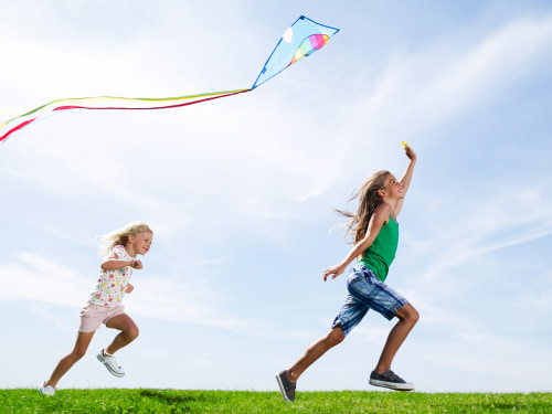 kids, play, outside, imagine, playing, children, kite, fun, kid, friends