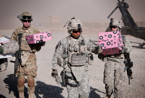 "Boxes from Georgetown Cupcake, marked ""delicious but delicate,"" make their way to bases and remote areas in conflict zones."