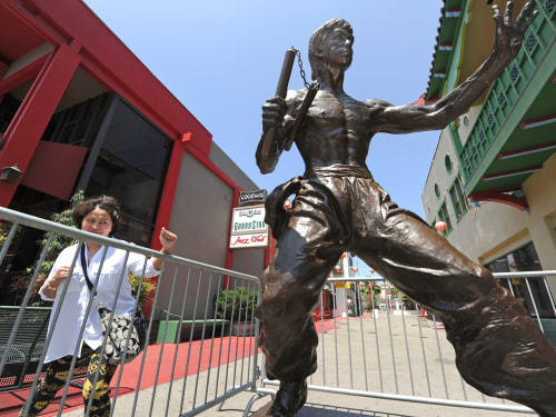 Image: The new Bruce Lee statue in Los Angeles' Chinatown neighborhood.