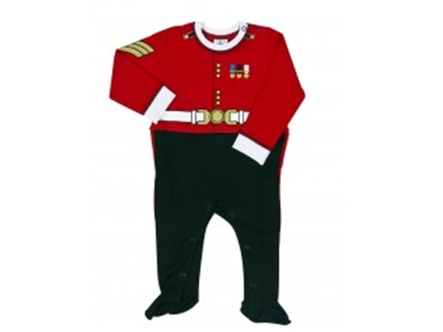 Buckingham Palace is profiting from interest in the royal baby with sales of its sleep suits inspired by the Guardsman uniform.