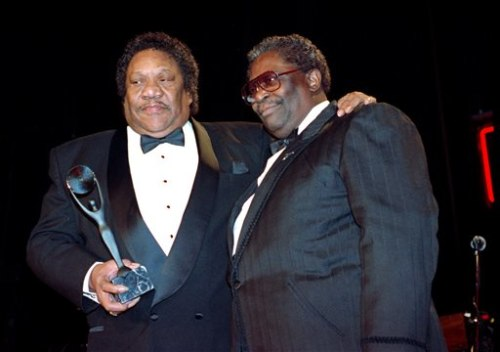 "On Jan. 15, 1992, Bobby ""Blue"" Bland, left, receives his award for the Rock and Roll Hall of Fame from B.B. King during induction ceremonies in New York."