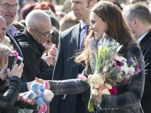 The Duchess of Cambridge greets wellwishers during an April visit in  Glasgow, Scotland.