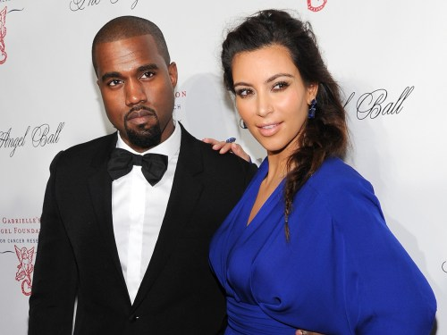 FILE - In this Oct. 22, 2012 file photo, singer Kanye West and girlfriend Kim Kardashian attend a benefit in New York. Reports attributed to anonymous...