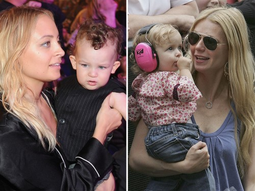 Nicole Ritchie, left with son Sparrow James Midnight Madden, and Gwyneth Paltrow, right, with daughter Apple Blythe Alison Martin.