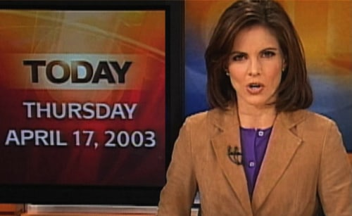 Natalie at the news desk in 2003.