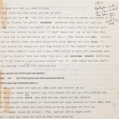 Unreleased lyrics by Bob Dylan