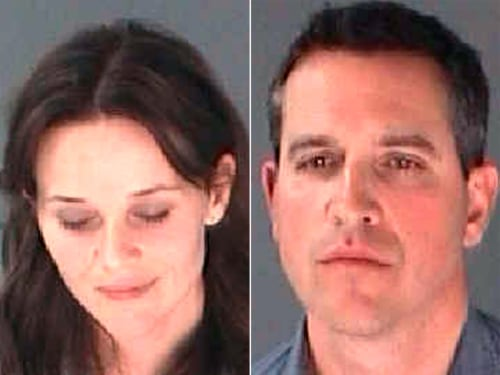 Reese Witherspoon and James Toth in mugshots taken after their Atlanta arrest.