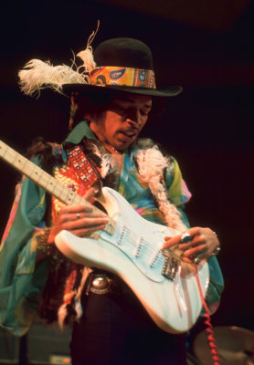 Jimi Hendrix performs in this 1969 image released by Sony Records.