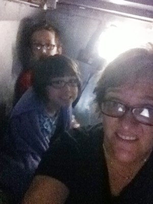 Mari Farthing with kids Spencer, 11, and Lauren, 8, in their Oklahoma City storm shelter Monday night.