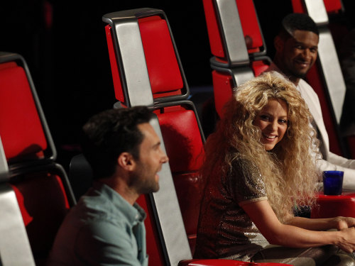 """Voice"" coaches Adam Levine, Shakira and Usher trade words over Kris Thomas' performance."