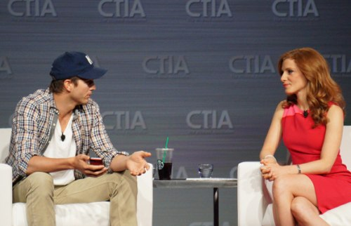Ashton Kutcher speaks at the CTIA trade show in Las Vegas in May, 2013.