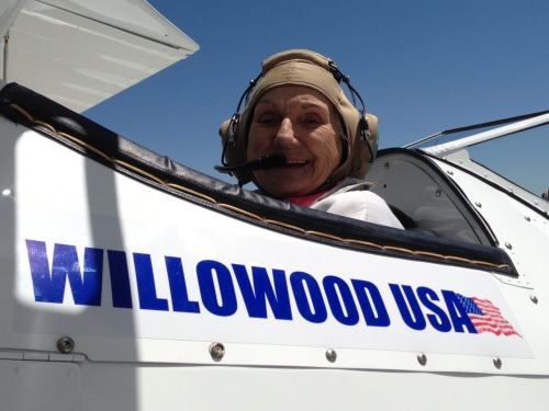 Pat Decker a 90-year-old veteran, prepares to lift off in a ride provided by Ageless Aviation Dreams.