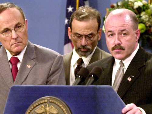 On Oct. 16, 2001, shortly after the Sept. 11 attacks, Kerik joined then-mayor Rudy Giuliani at the podium to answer reporters' questions about investigations into anthrax cases in New York City.