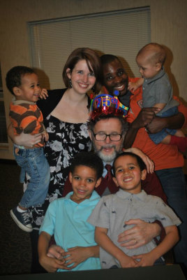 The four children of Naomi Guinn and her husband celebrate their grandfather's 75th birthday.