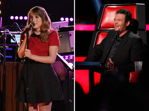 Image: Caroline Pennell and Blake Shelton on The Voice.