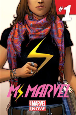 "This comic book cover image released by Marvel Comics shows character Kamala Khan on the ""Ms. Marvel"" issue. The new monthly Ms. Marvel is debuting as..."
