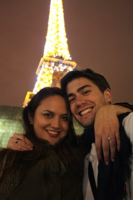 Bryant proposed to Manzano in front of the Eiffel Tower in September.