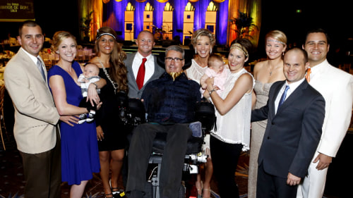 Augie and his children and grandchildren. He hopes to walk his daughter, Lindsay, down the aisle next summer.