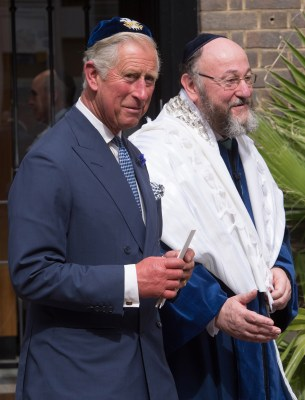 Prince Charles, Prince of Wales and the newly appointed 11th Chief Rabbi of the United Hebrew Congregations of the UK...