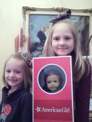 Jordyn (right) donated the doll, which will be auctioned on a Facebook page set up by her mom.