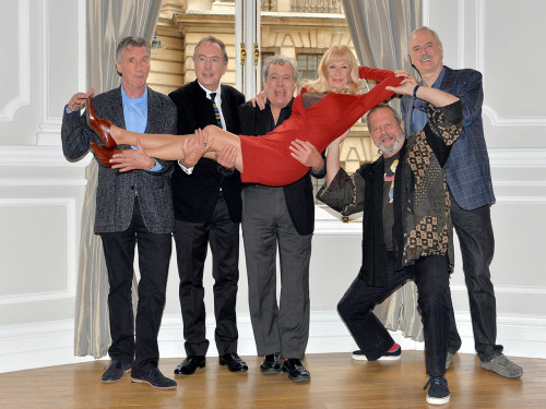 The members of Monty Python (Michael Palin, Eric Idle, Terry Jones, Terry Gilliam and John Cleese) with regular additional cast member Carol Cleveland at their Nov. 21 press conference.