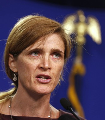 U.S. Ambassador to the United Nations Samantha Power speaks about the Syrian crisis at the Center for American Progress in Washington, September 6, 20...