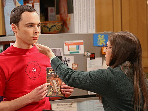 "Image: Sheldon (Jim Parsons) and Amy (Mayim Bialik) on ""The Big Bang Theory."""