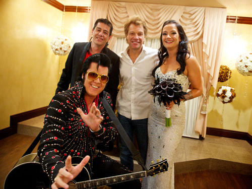 Gonzalo Cladera was in on the fun as his bride Branka Delic's rock idol Jon Bon Jovi joined them at their wedding (along, of course, with Elvis).