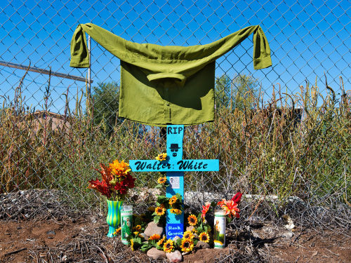 "A ""descanso"" or roadside memorial set up by ""Breaking Bad"" fans outside an abandoned wood mill in Albuquerque, where Walter White met his end in the series' finale."