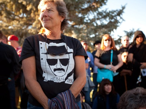 "Walter White lives! At least, he does on a T-shirt worn by a ""Breaking Bad"" fan at the Walter White Funeral Service and Final Amends event on Oct. 19, which also was a fundraiser."