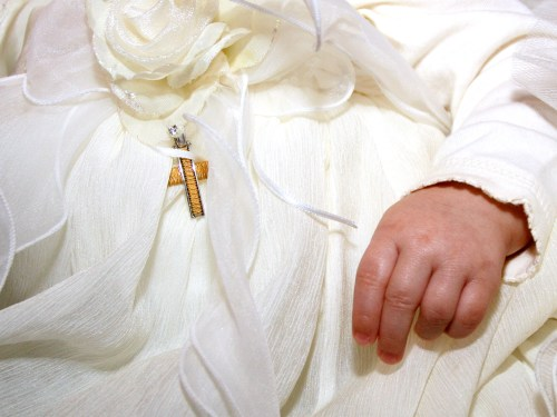 baby, hand, baptism, christening, gown
