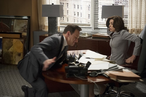 "Will (Josh Charles) confronts Alicia (Julianna Margulies) about her betrayal on ""The Good Wife."""