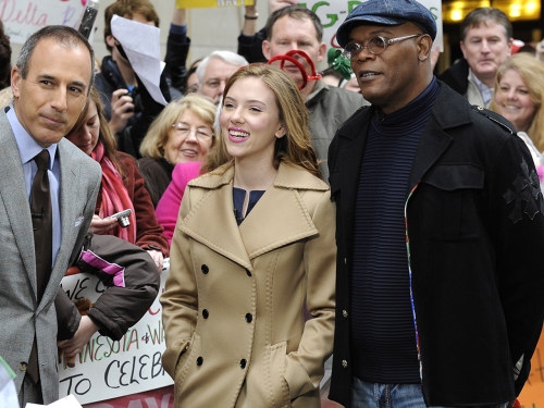 Scarlett Johansson and Samuel L. Jackson join Matt on the plaza to collect toys during the holiday season.