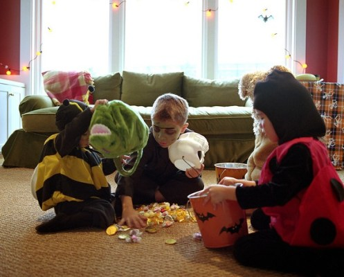 Sharing Halloween Candy, trick or treat, costumes, kids, children, october, home