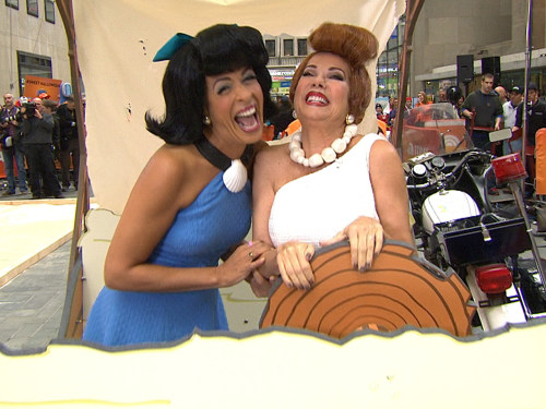 "Wilmaaaaa! Kathie Lee and Hoda went pre-historic as Betty and her best friend from ""The Flintstones."""